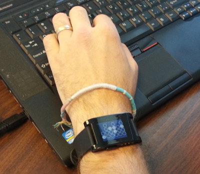 My buddy, Brad's very cool Pebble E-Paper Smart Watch