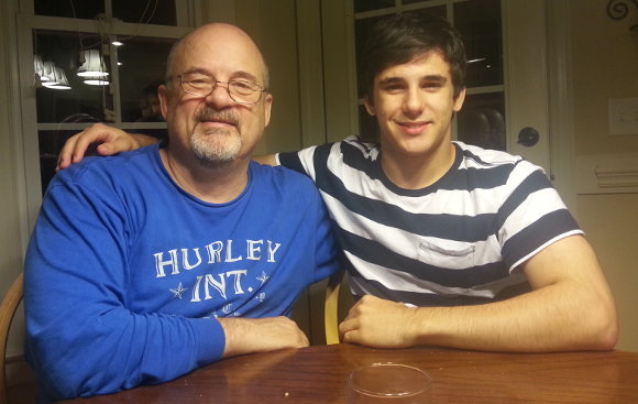 Christian and Dad, two days before his 18th birthday