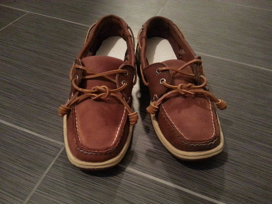 Christian's boat shoes after he rehabilitated them