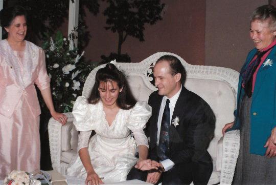 Lorena signs wedding papers with Grandma Conchita and Grandma Sarah in Monterrey, Nuevo Leon, Mexico
