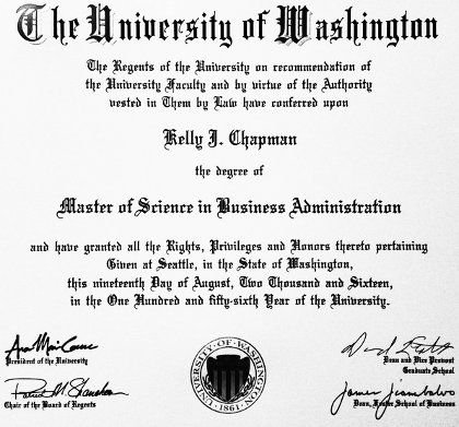 Kelly's Master of Science diploma
