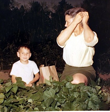 Grandma Sarah picking beans with cousin Neil