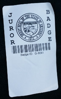 Christian's jury duty badge
