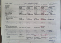 Christian's homeschool planning sheet 2007