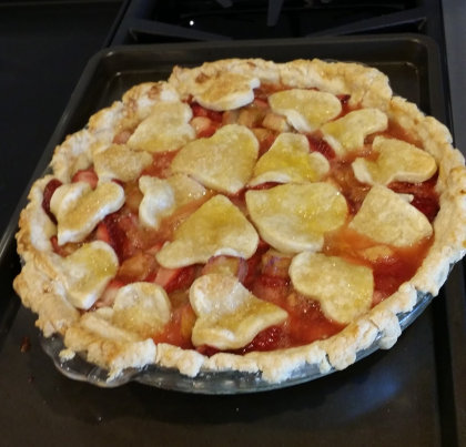 Kelly makes me a strawberry rhubarb pie for Father's Day