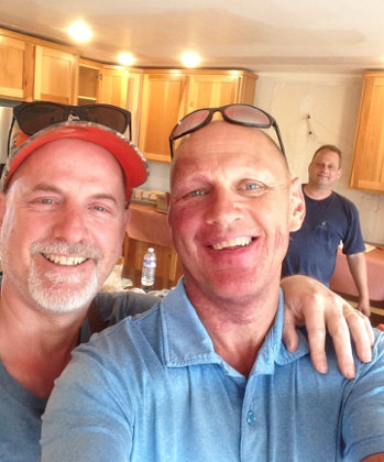 Mark and his electrician (Frank Waddell)