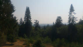 Mt. Rainier hazed up from Canada forest fire smoke